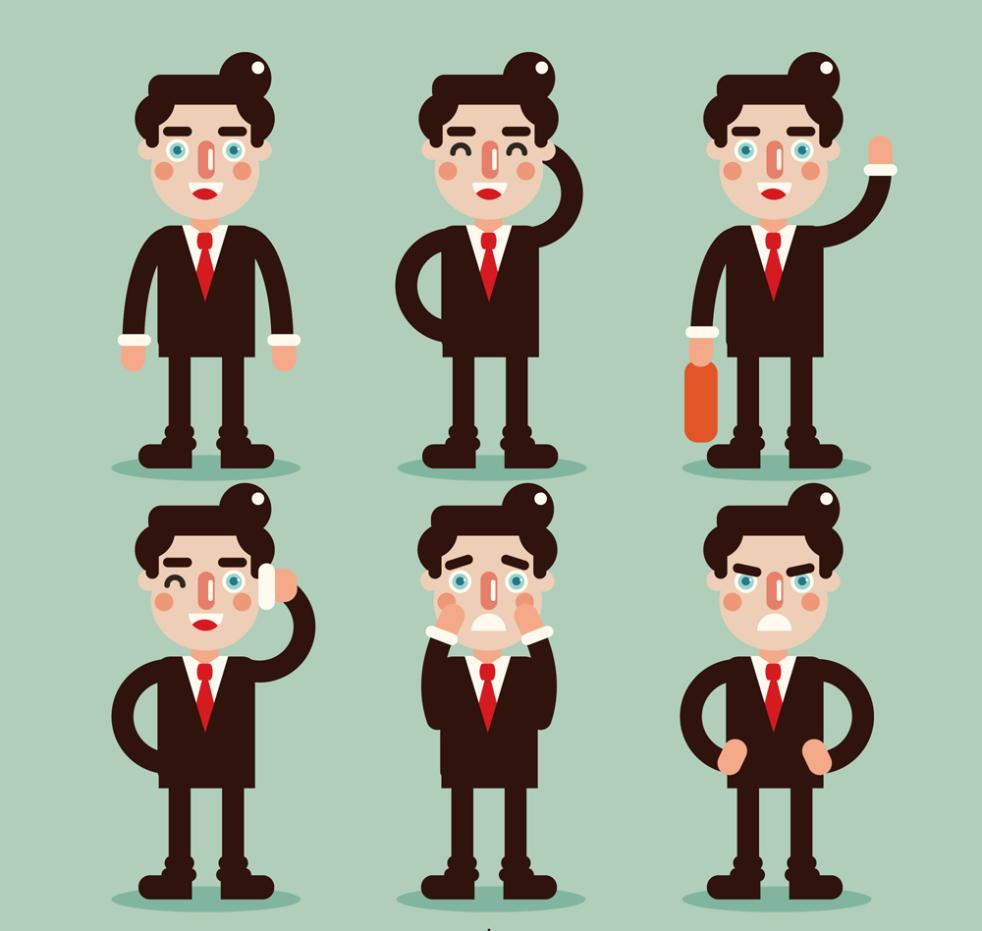Six Creative Business Man Vector