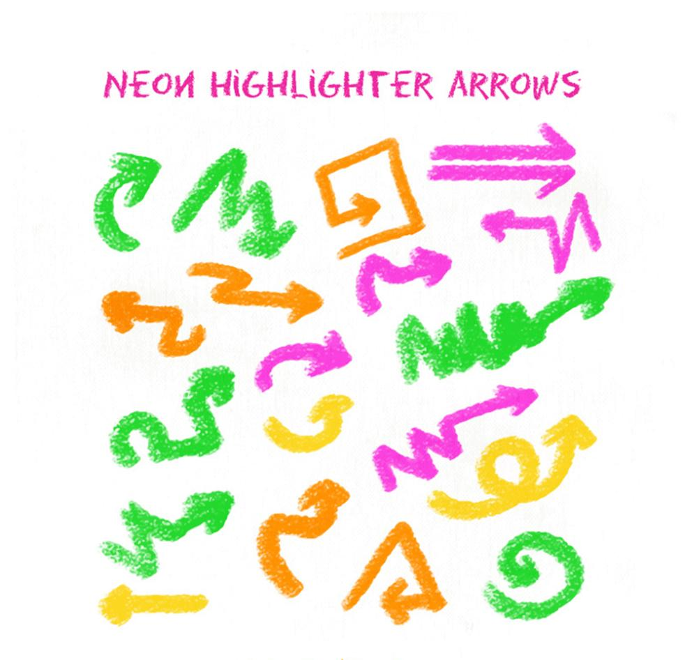 20 Crayons Draw Arrows Vector
