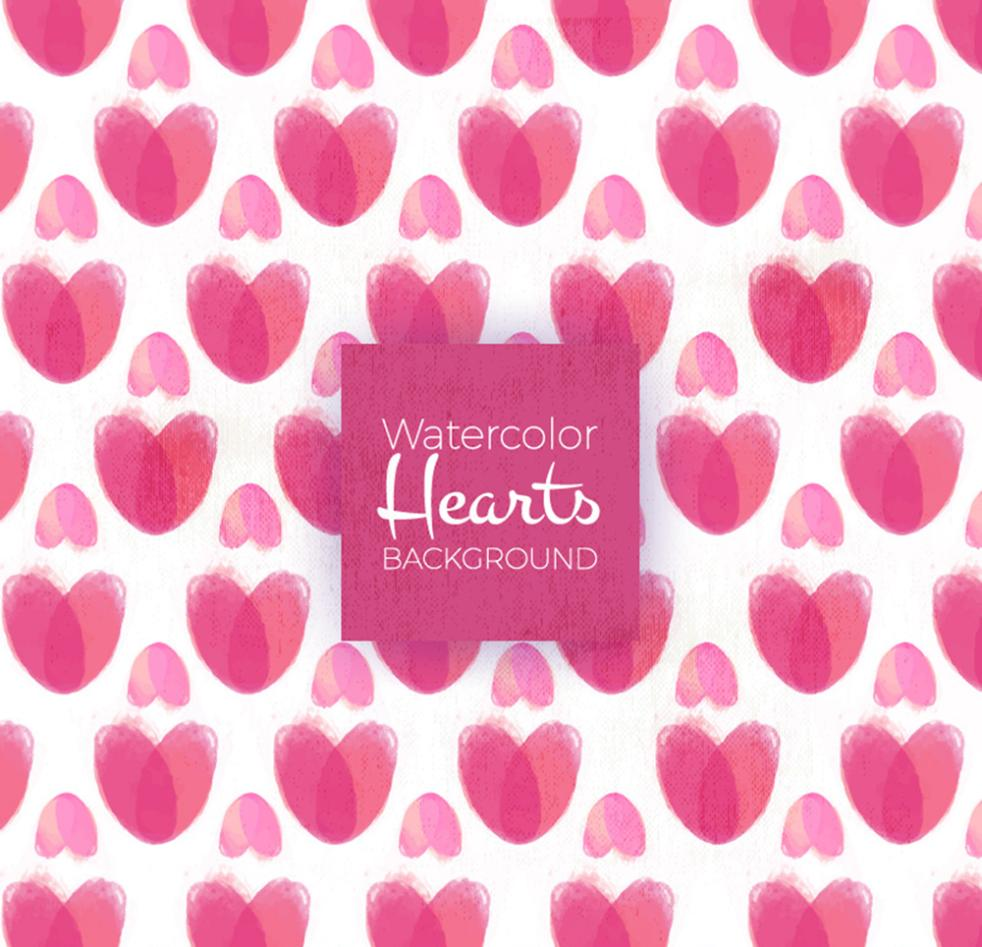 Water Painted Pink Love Seamless Background Vector