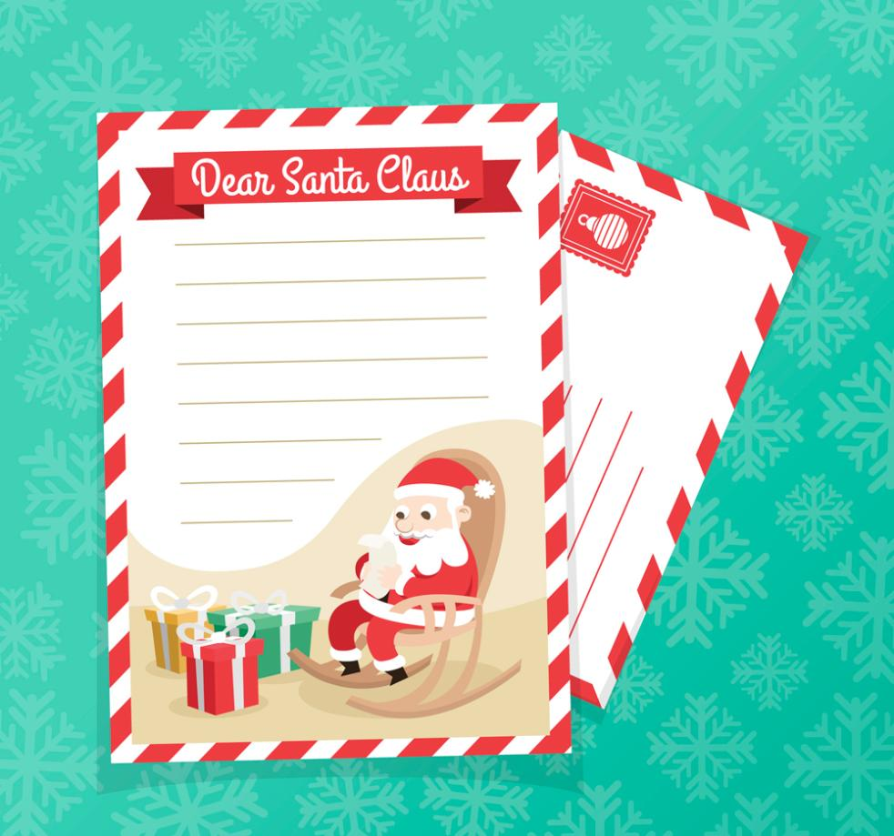 Creative Santa Claus And Gift Box Paper Envelope Vector