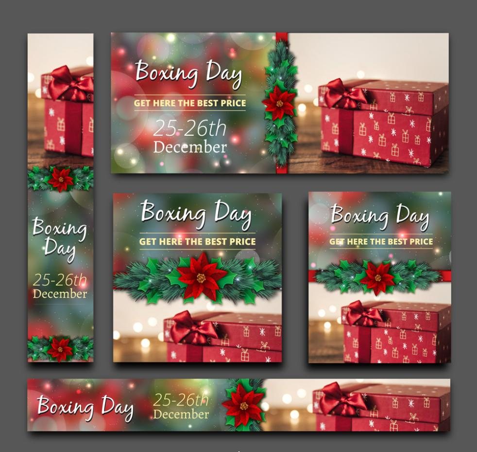 5 Creative Promotional Gift Box Boxing Day Card Vector