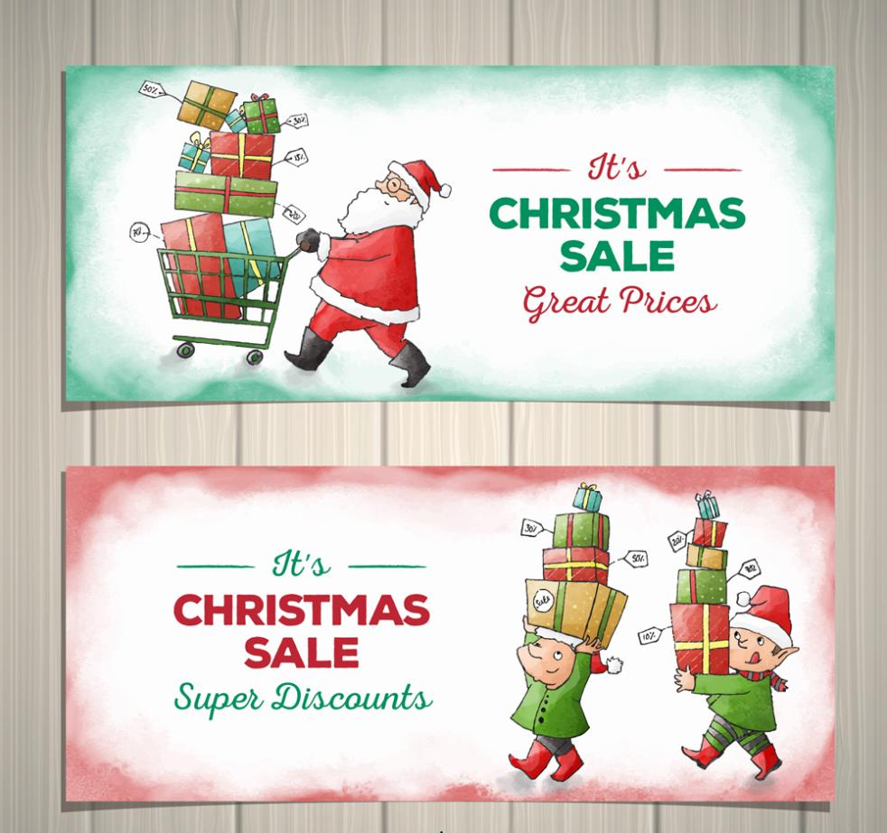 Two Coloured Drawing Or Pattern Christmas Sales Banner Vector