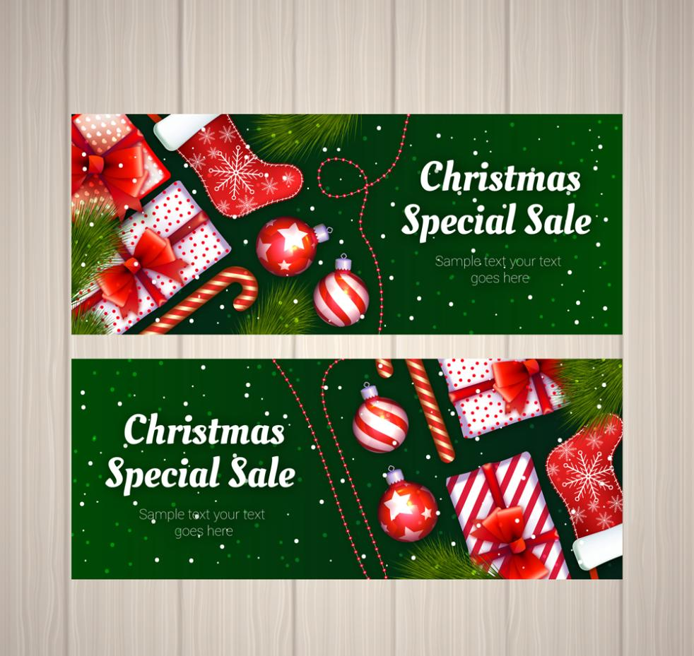 2 Nice Christmas Special Promotional Banner Vector
