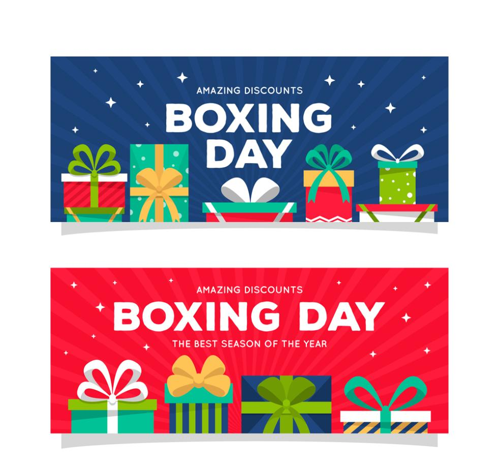 Two Color Box Boxing Day Promotional Banner Vector