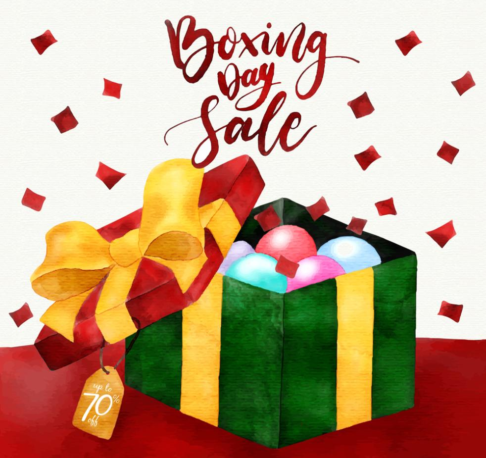 Cartoon Boxing Day Gift Promotional Poster Vector