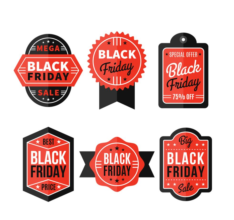 Six Red Label Black Friday Vector