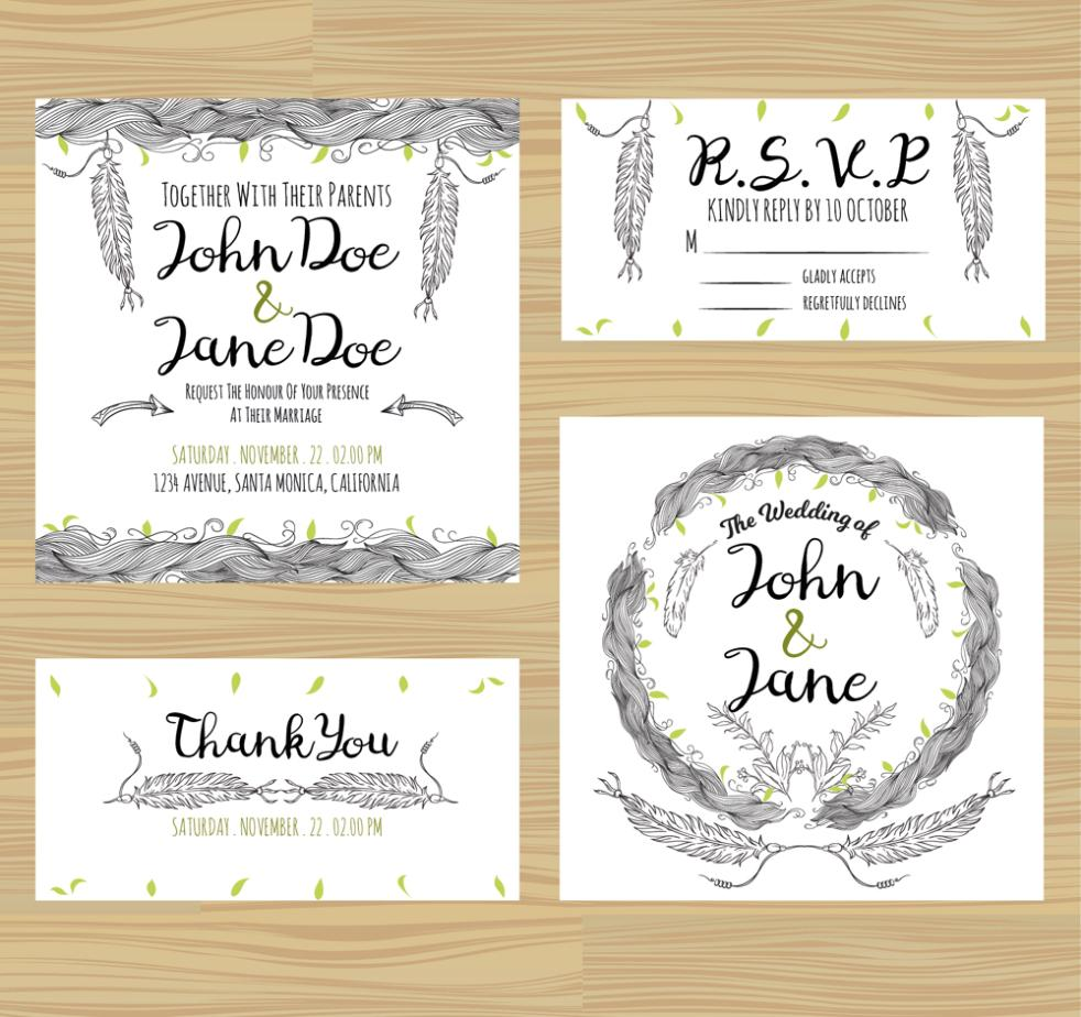 4 Hand-painted Feather Wedding Cards Vector