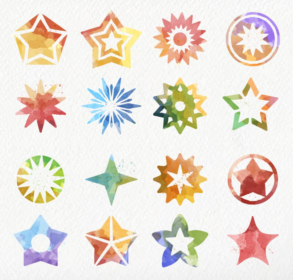 16 The Star Icon Coloured Drawing Or Pattern Vector