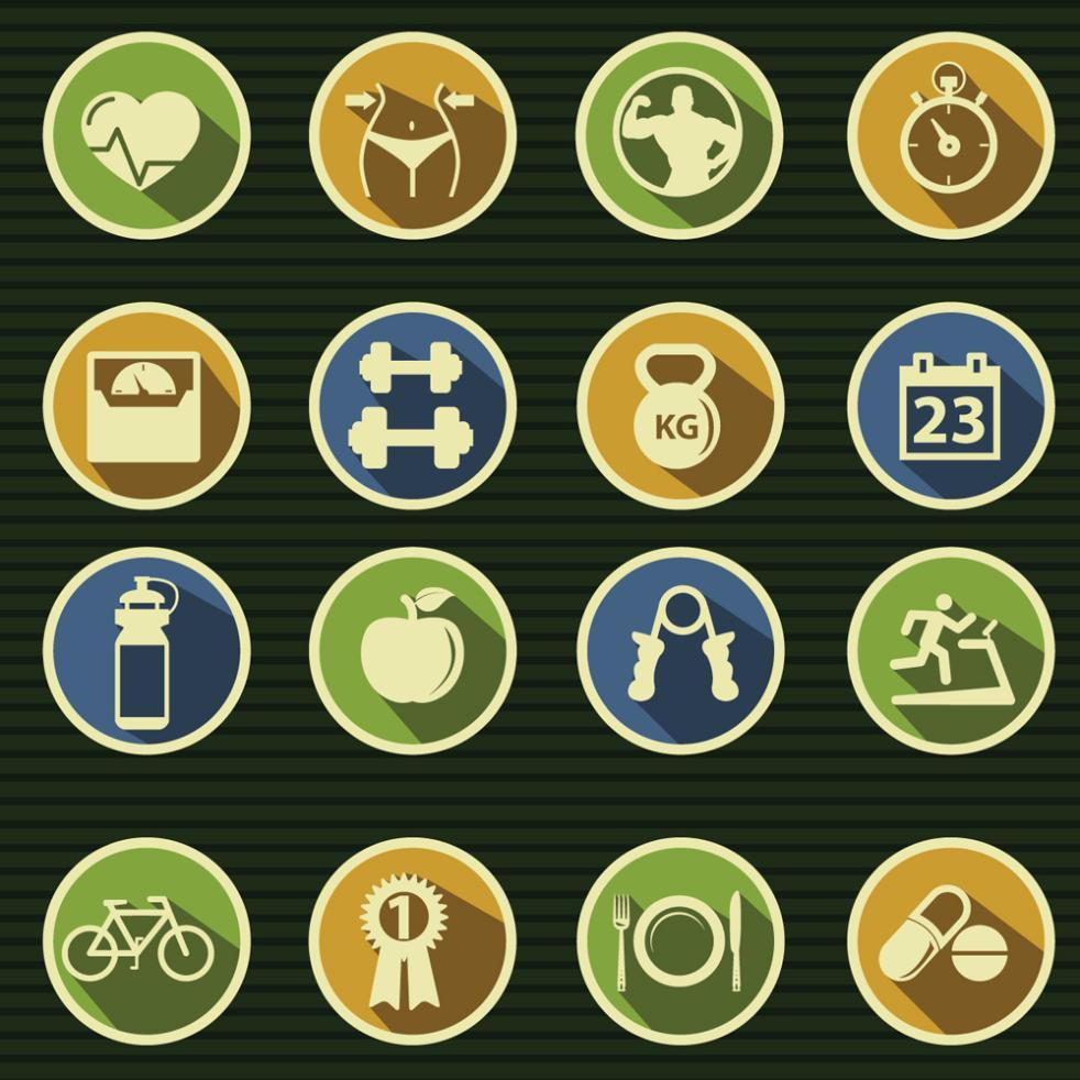 16 Delicate Fitness Elements Icon Vector