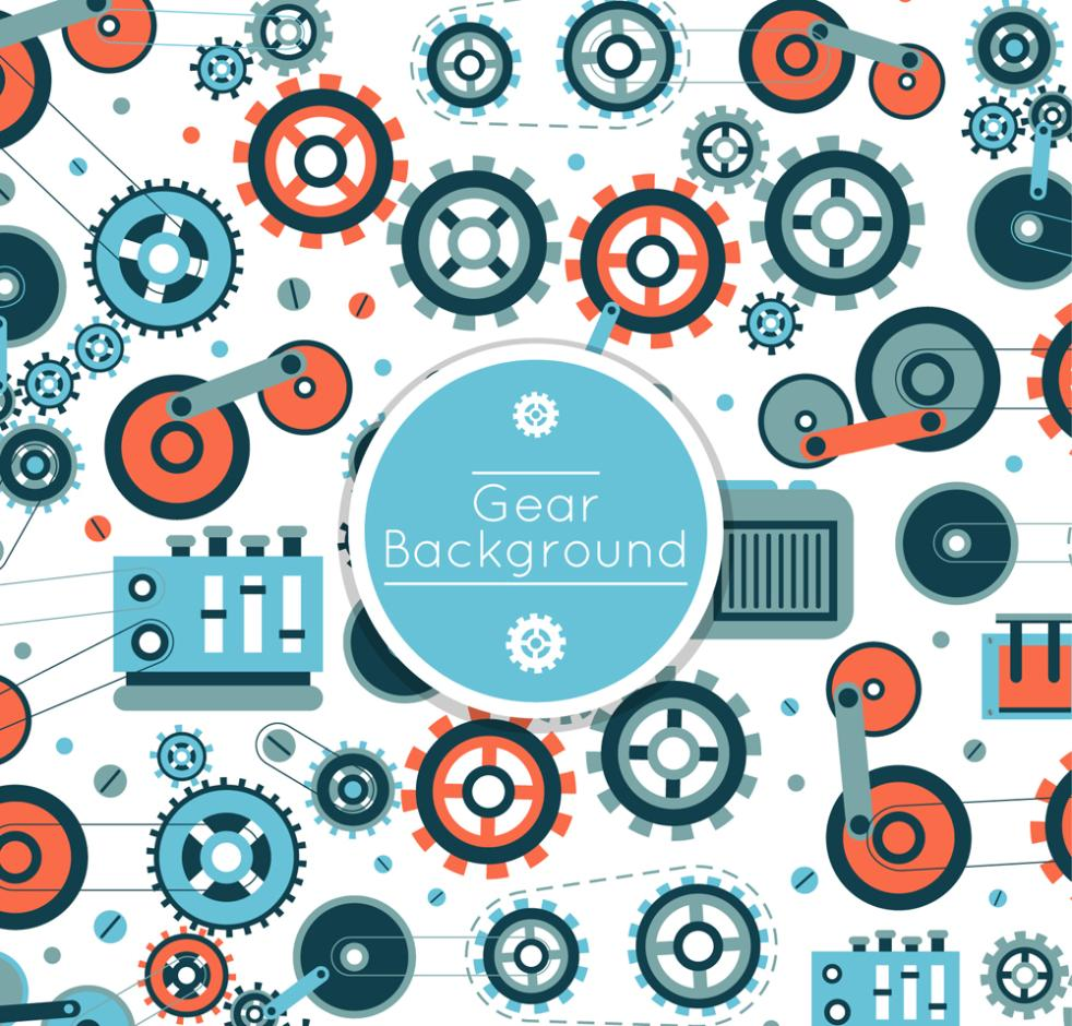 Seamless Background Color Gear Vector