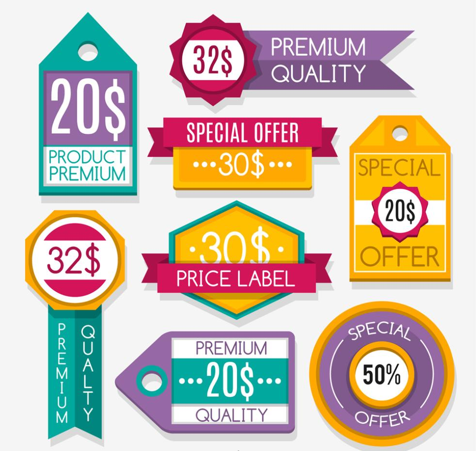 Nine New Color Quality Promotion Label Vector