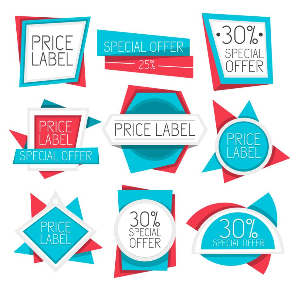 Nine New Blue Price Tag Vector