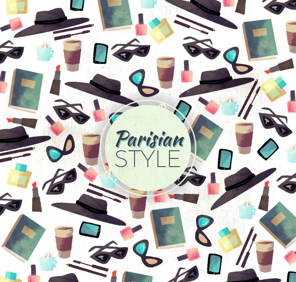 Fashion Accessories Seamless Background Coloured Drawing Or Pattern Vector