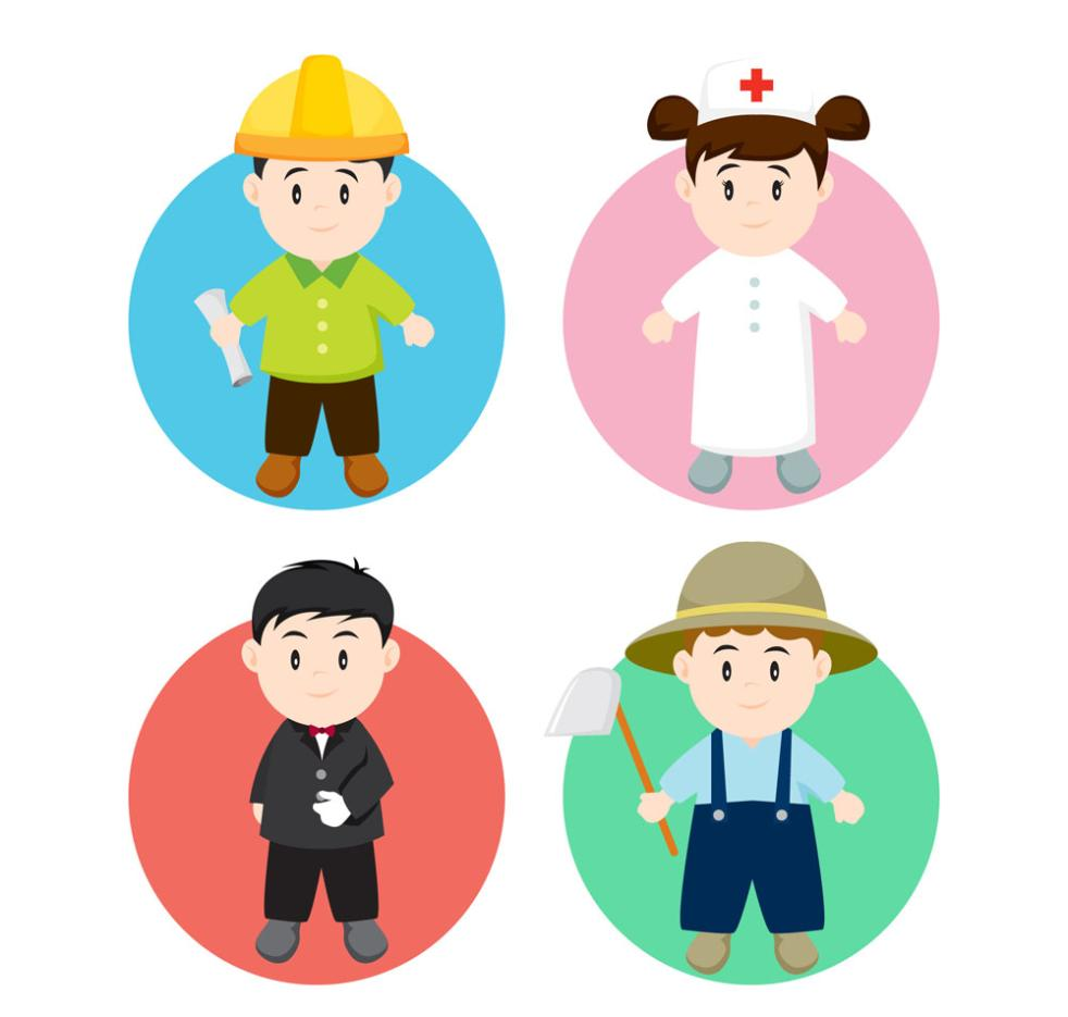 4 Lovely Children Wear Business Attire Vector