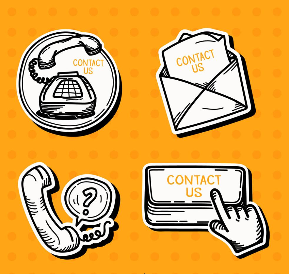 4 Hand-painted Contact Tag Vector