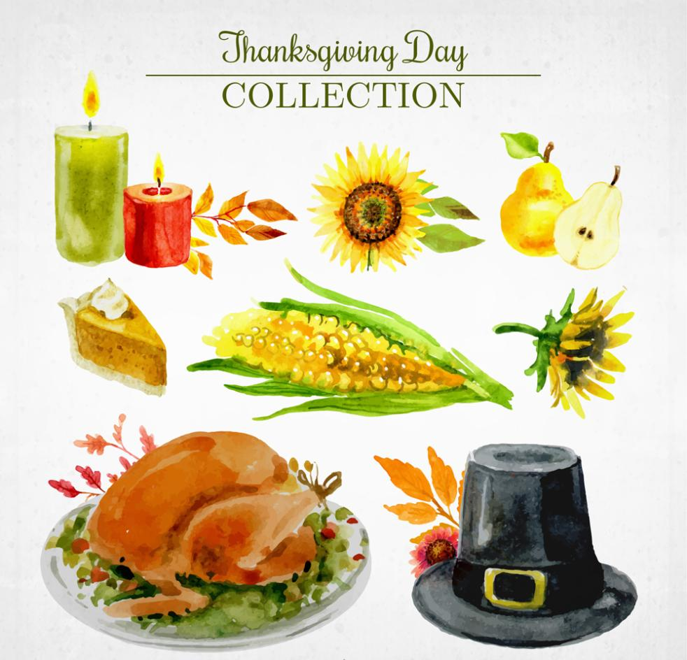 Thanksgiving Day Eight Coloured Drawing Or Pattern Elements Vector