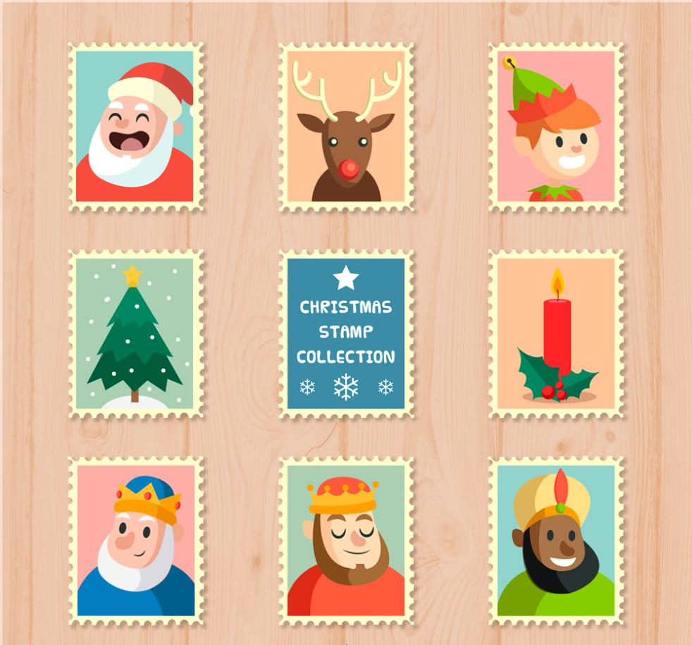 Eight Elements Of Lovely Christmas Stamps Vector