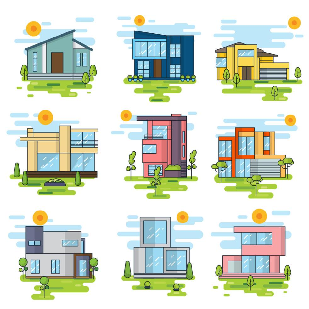 9 Stylish Private Houses Vector