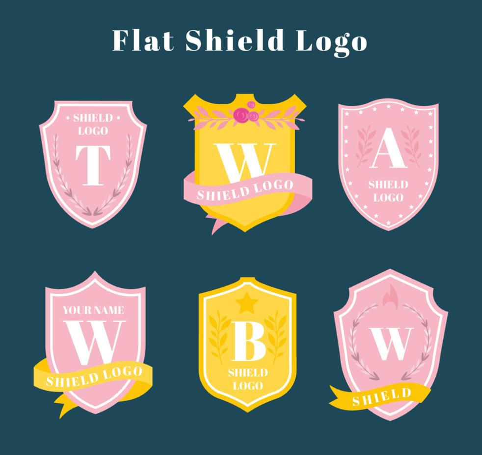 Six Color Sign Letters Shield Vector