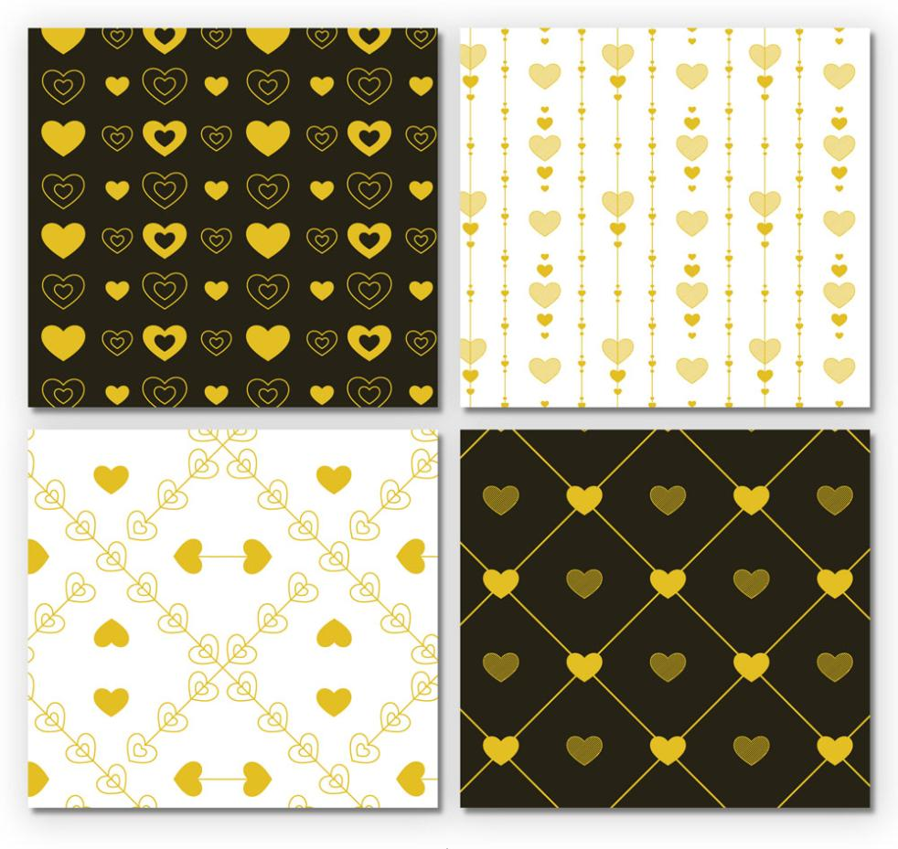 4 Golden Love Seamless Background Vector
