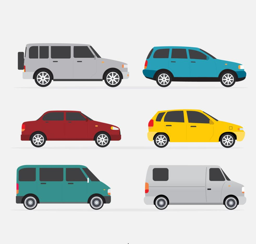 Six Color Profile Design Vehicle Vector
