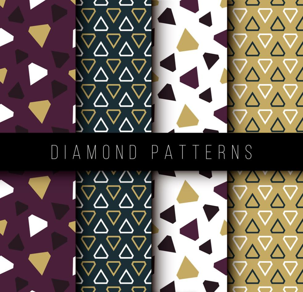 4 Creative Diamond Seamless Background Vector