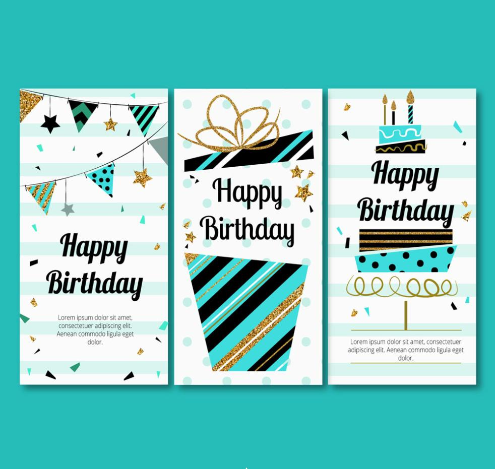 Three Abstract Happy Birthday Cards Vector