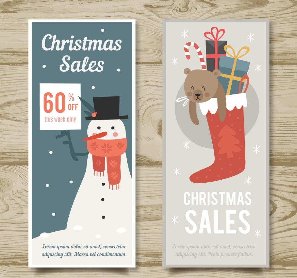 Two Lovely Christmas Promotional Banner Vector