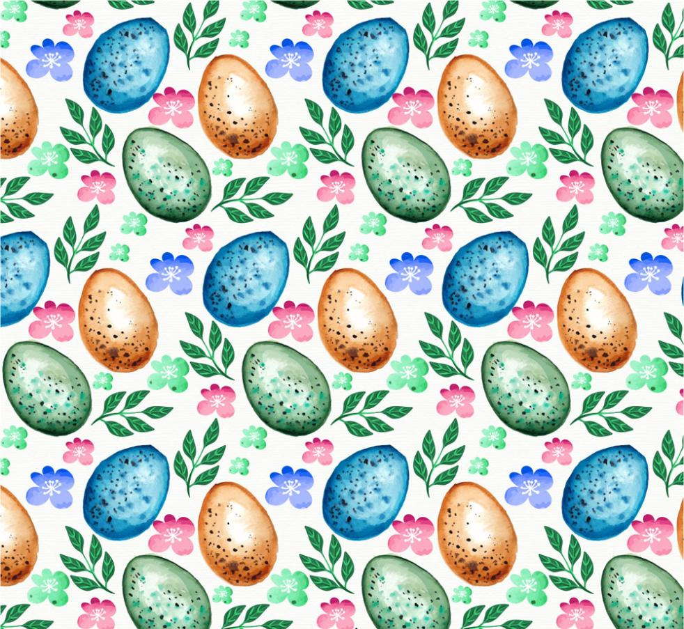Creative Eggs And Leaf Seamless Background Vector