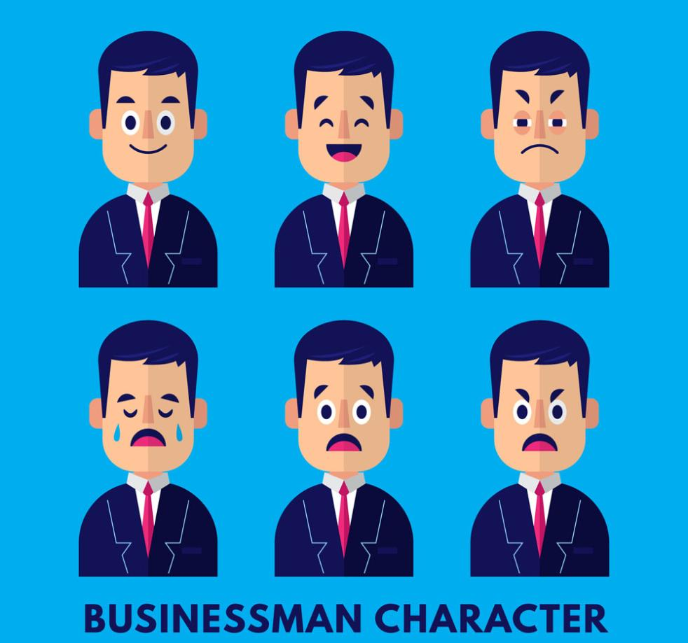 Six Creative Business Man Face Image Vector