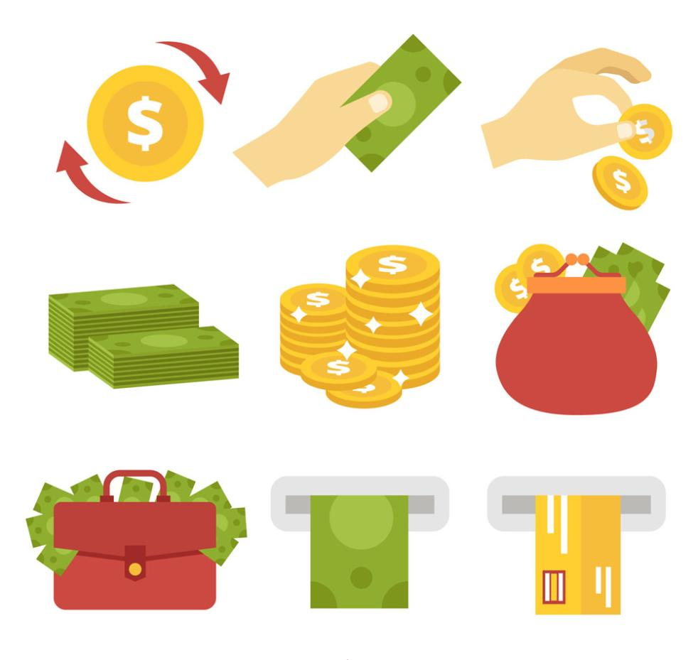 Nine New Creative Financial Icon Vector