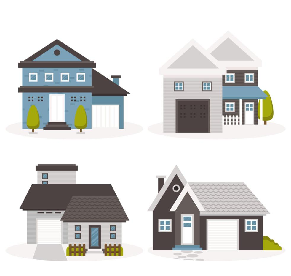 4 Fashion Neat Private Houses Vector