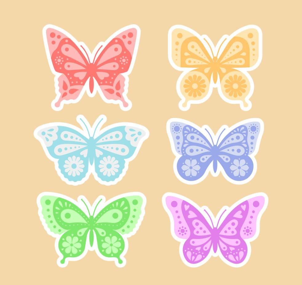 Six Color Decorative Pattern Of Butterfly Stickers Vector