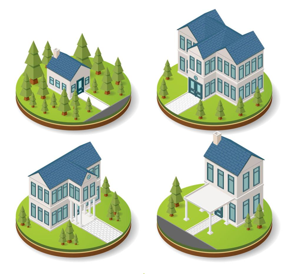 4 Stereoscopic Blue Roof Houses Vector