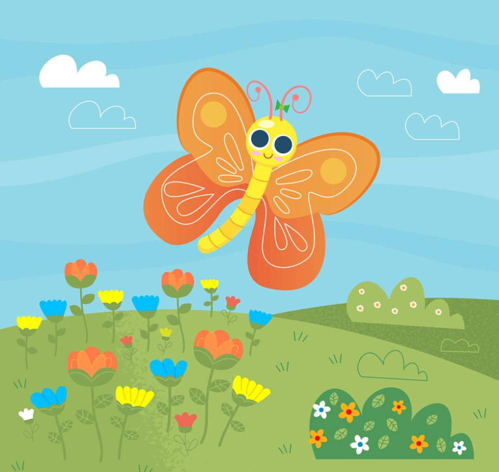 Cartoon Eyes Butterfly Vector