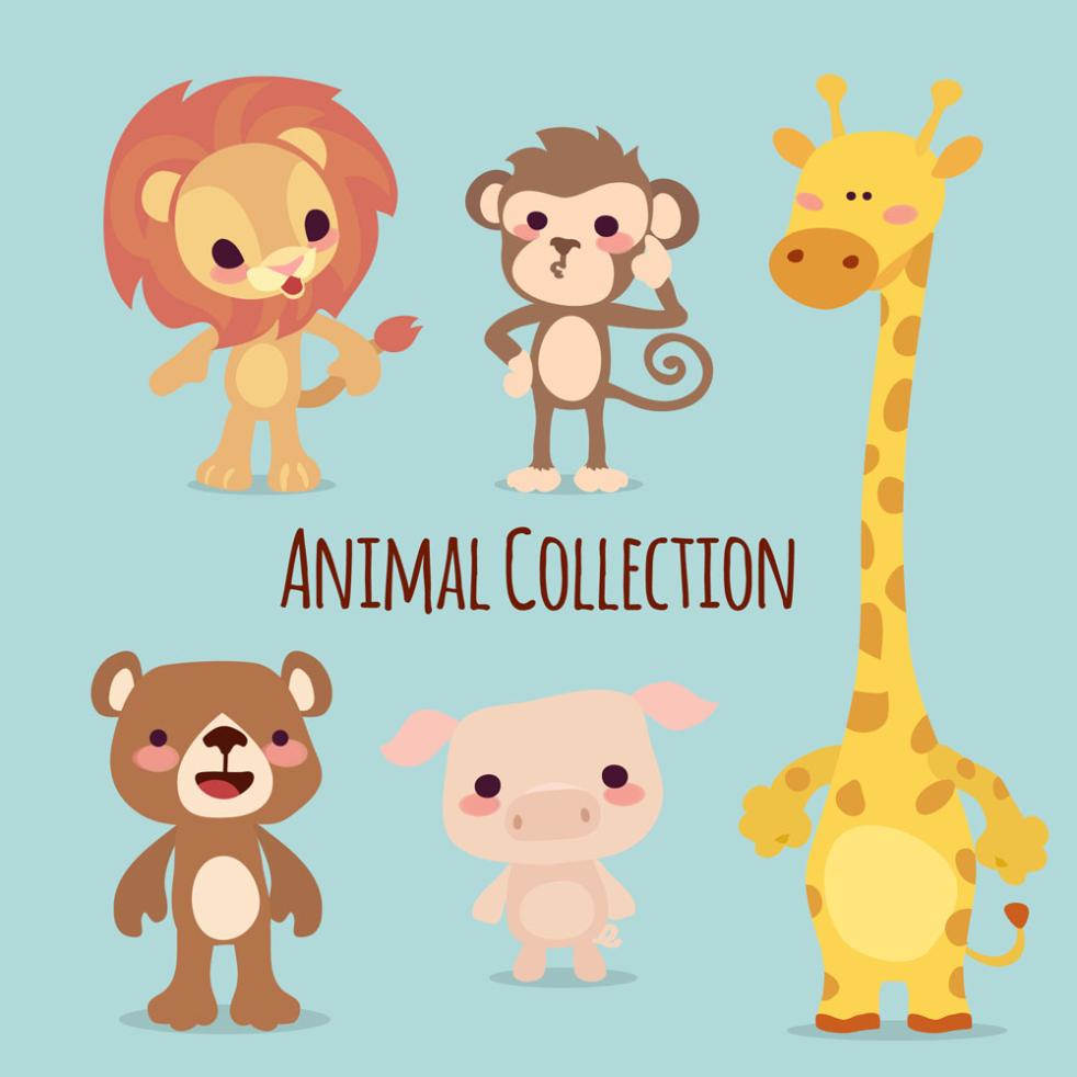 Five Cute Animals Vector