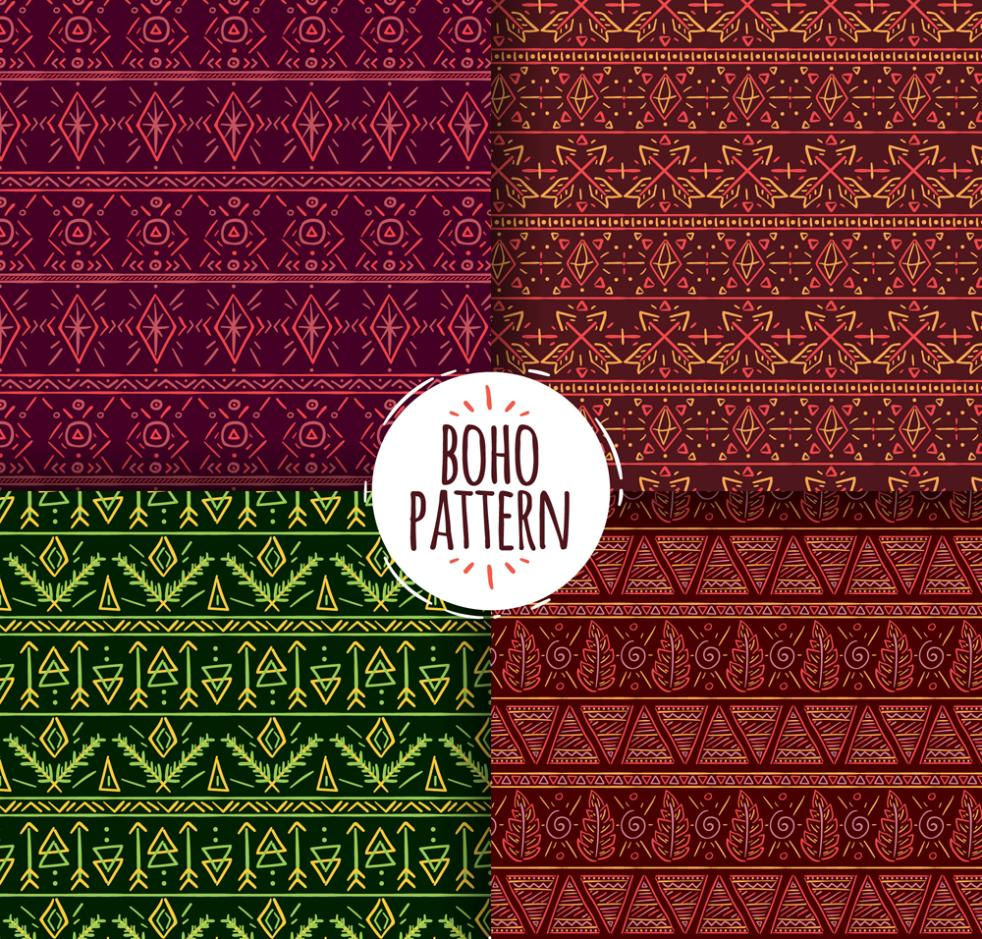 4 Creative Bohemian Seamless Background Vector