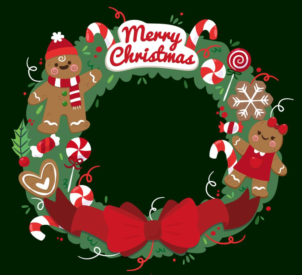 Cute Gingerbread Man Christmas Wreath Vector