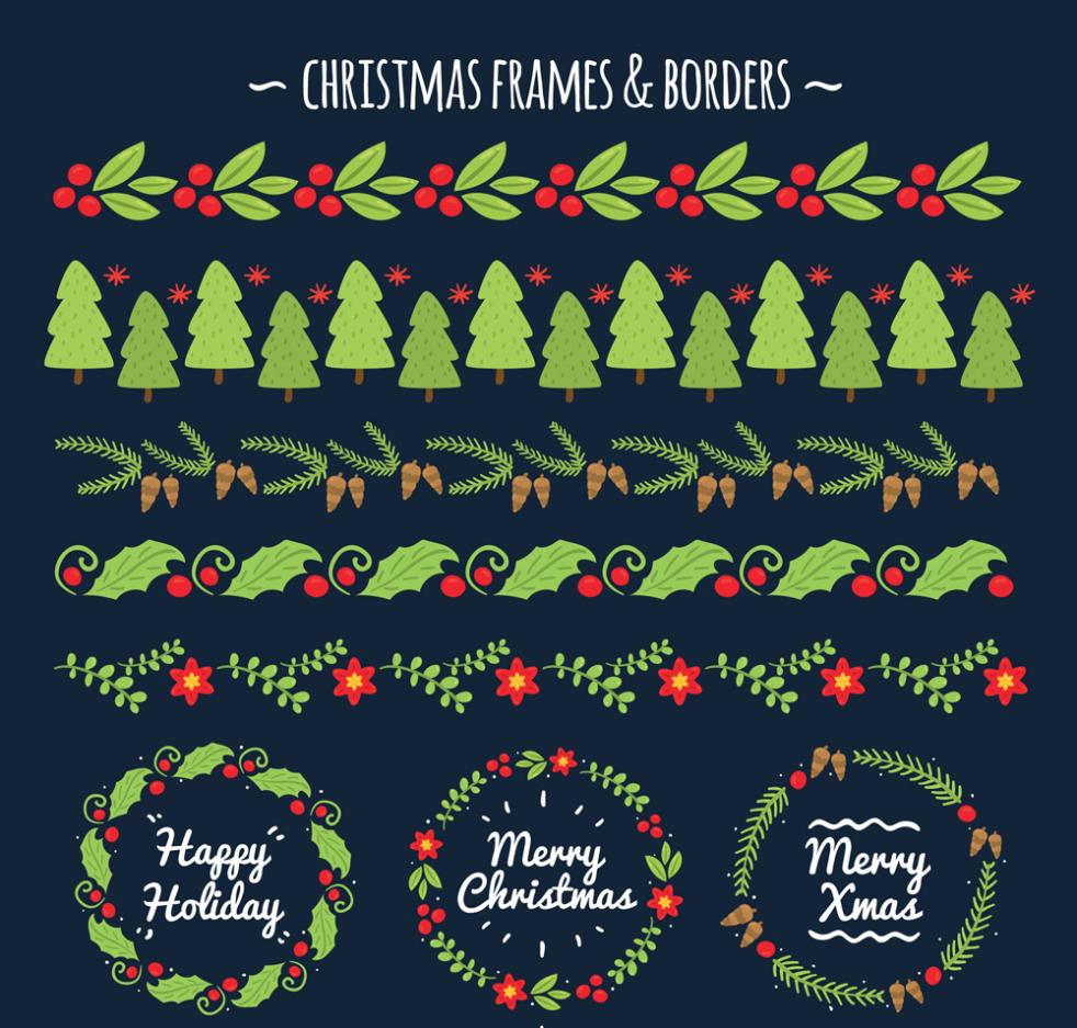 Paragraphs 3 Creative Christmas Wreath And Seven Christmas Lace Vector