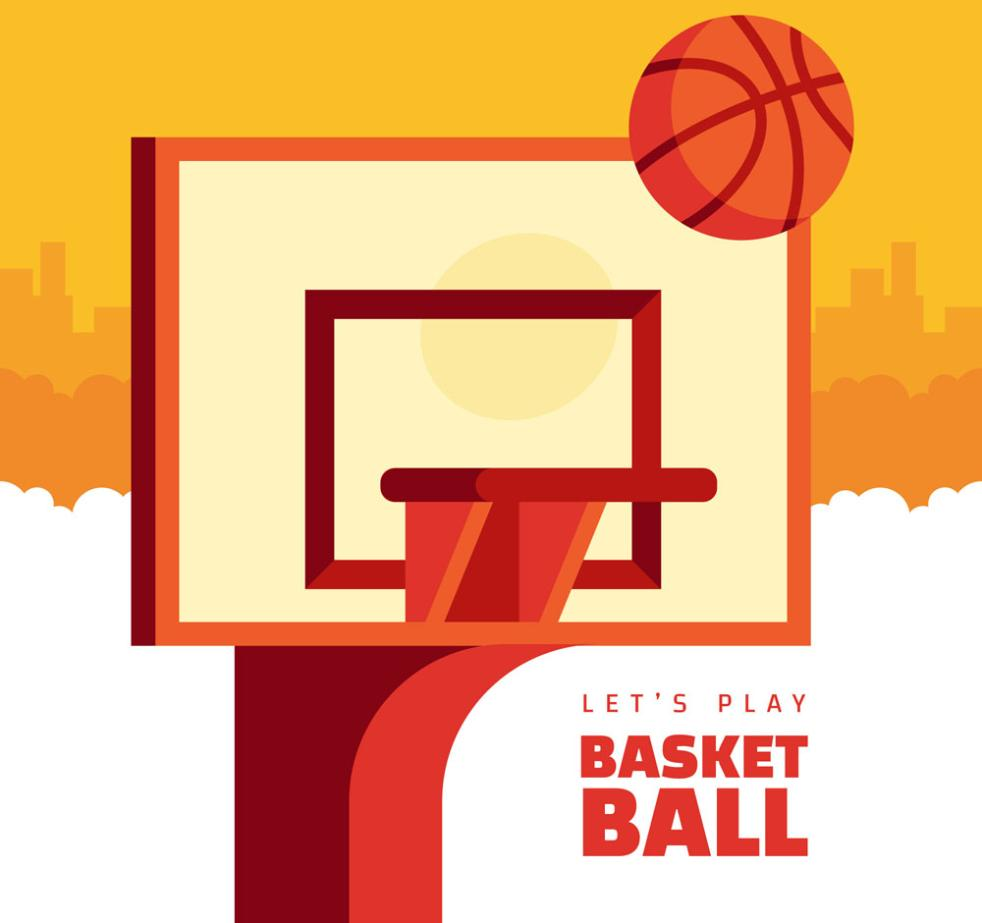 Flattening And Backboard And Basketball Vector