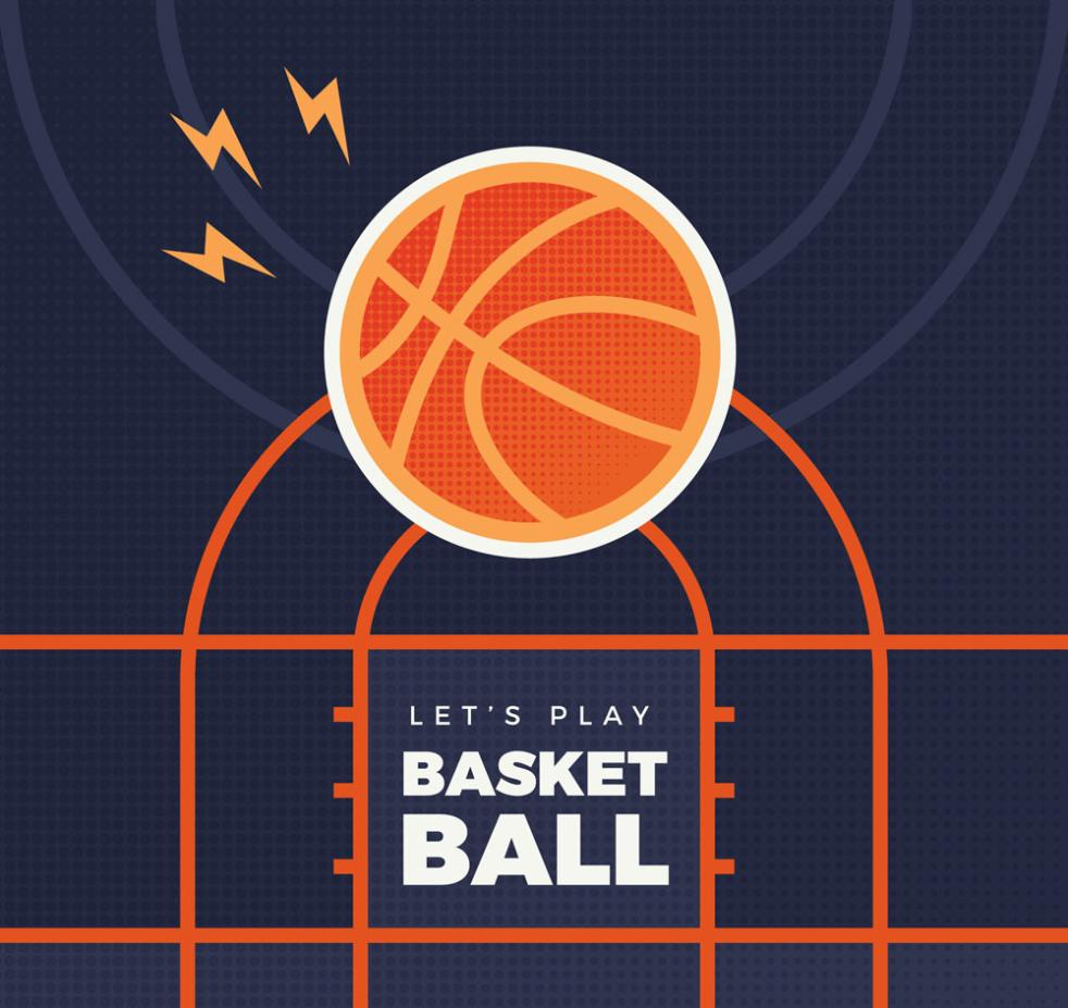 Flat Into The Basketball Basket Vector
