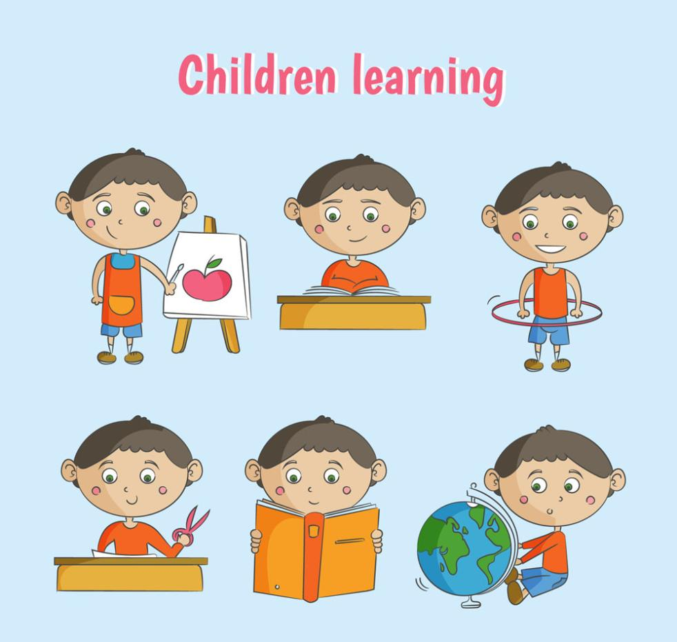 Six Coloured Drawing Or Pattern Learning Boy Vector