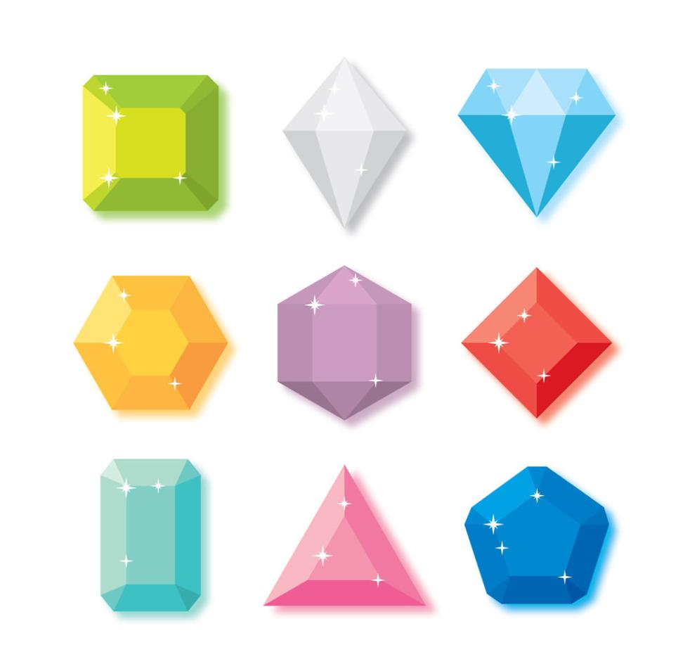 9 Color Diamond Design Vector
