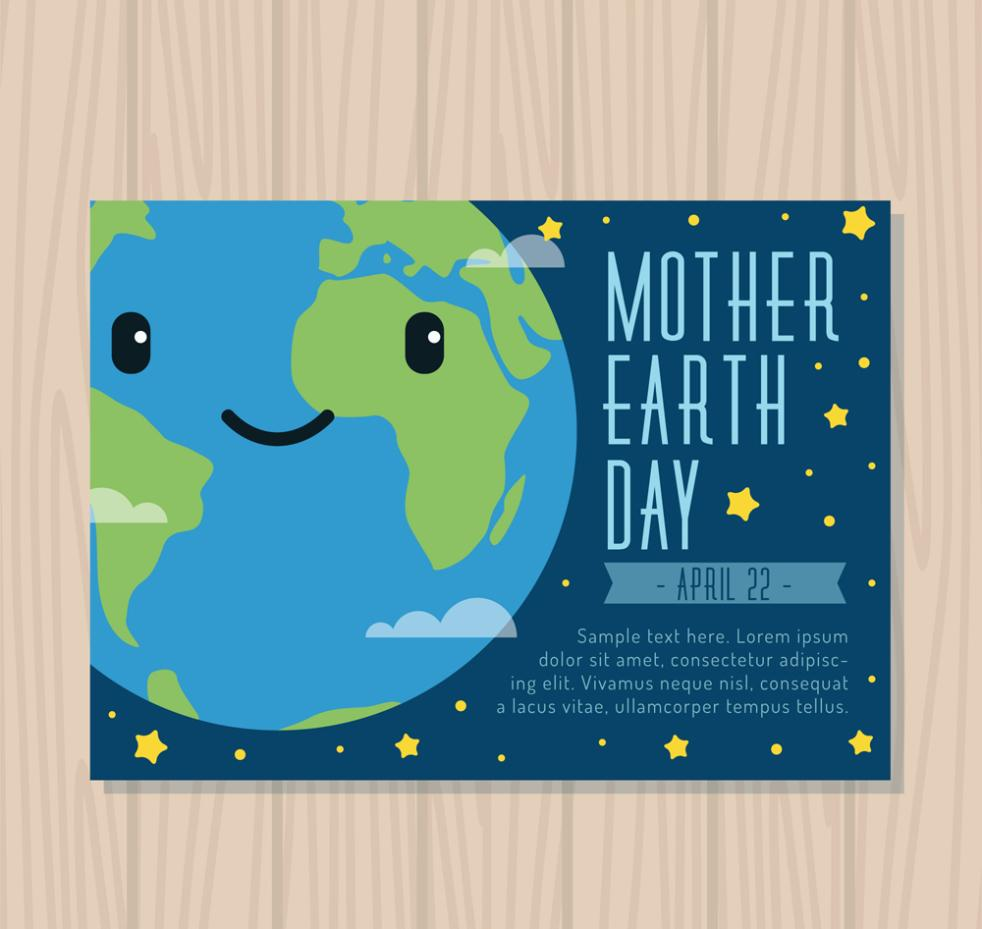 Lovely Blue Earth Greeting Card Vector