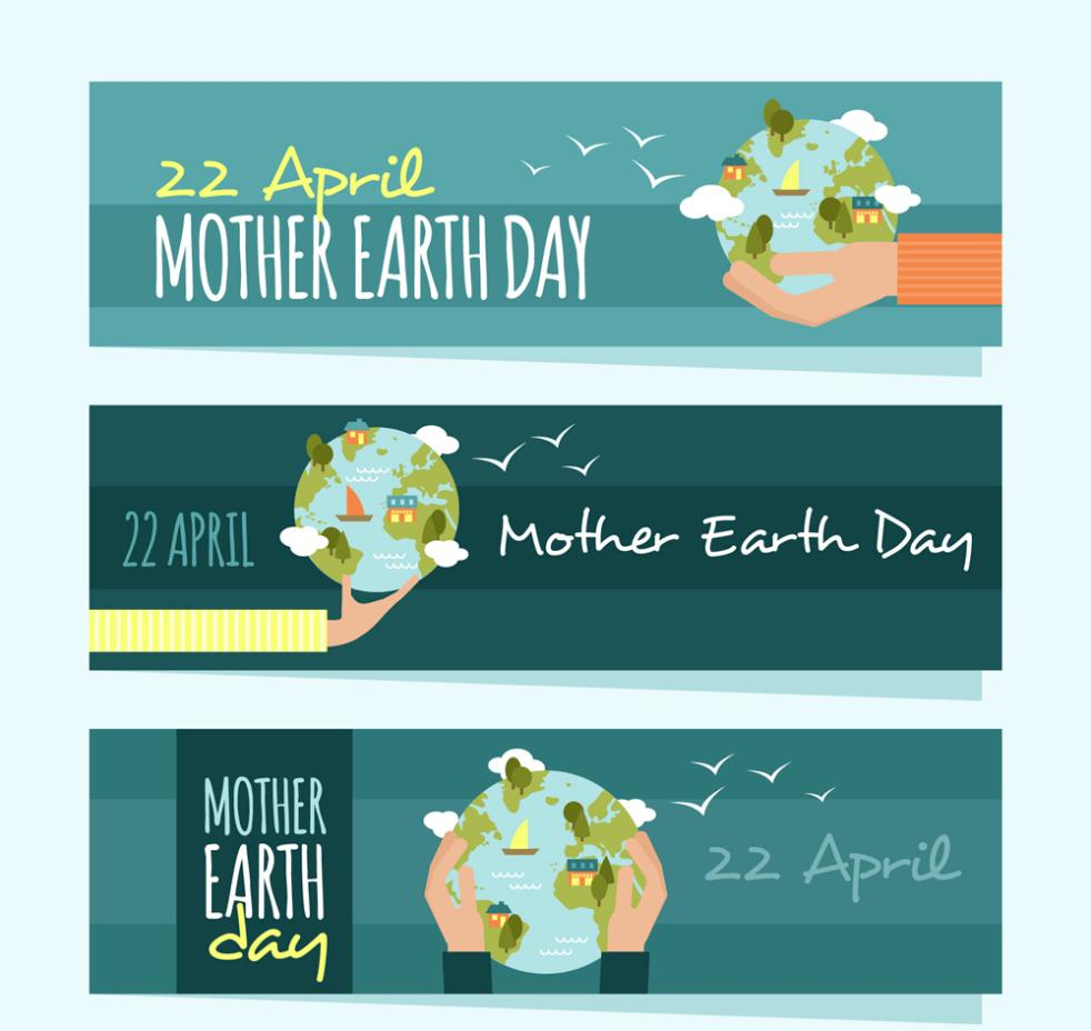 Three Creative Holding The Earth Festival Banner Vector