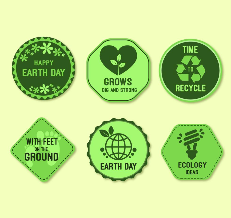 Tag Six Green World Earth Day Vector
