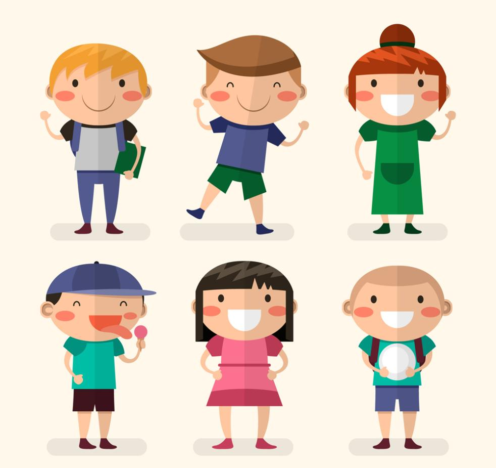 Six Flattening Smiling Faces Of Children Vector