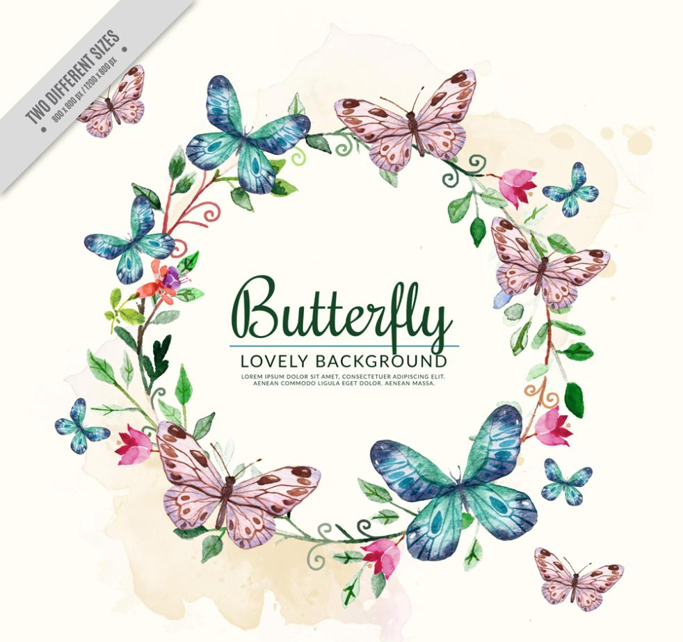 Coloured Drawing Or Pattern The Wreath And Butterflies Vector