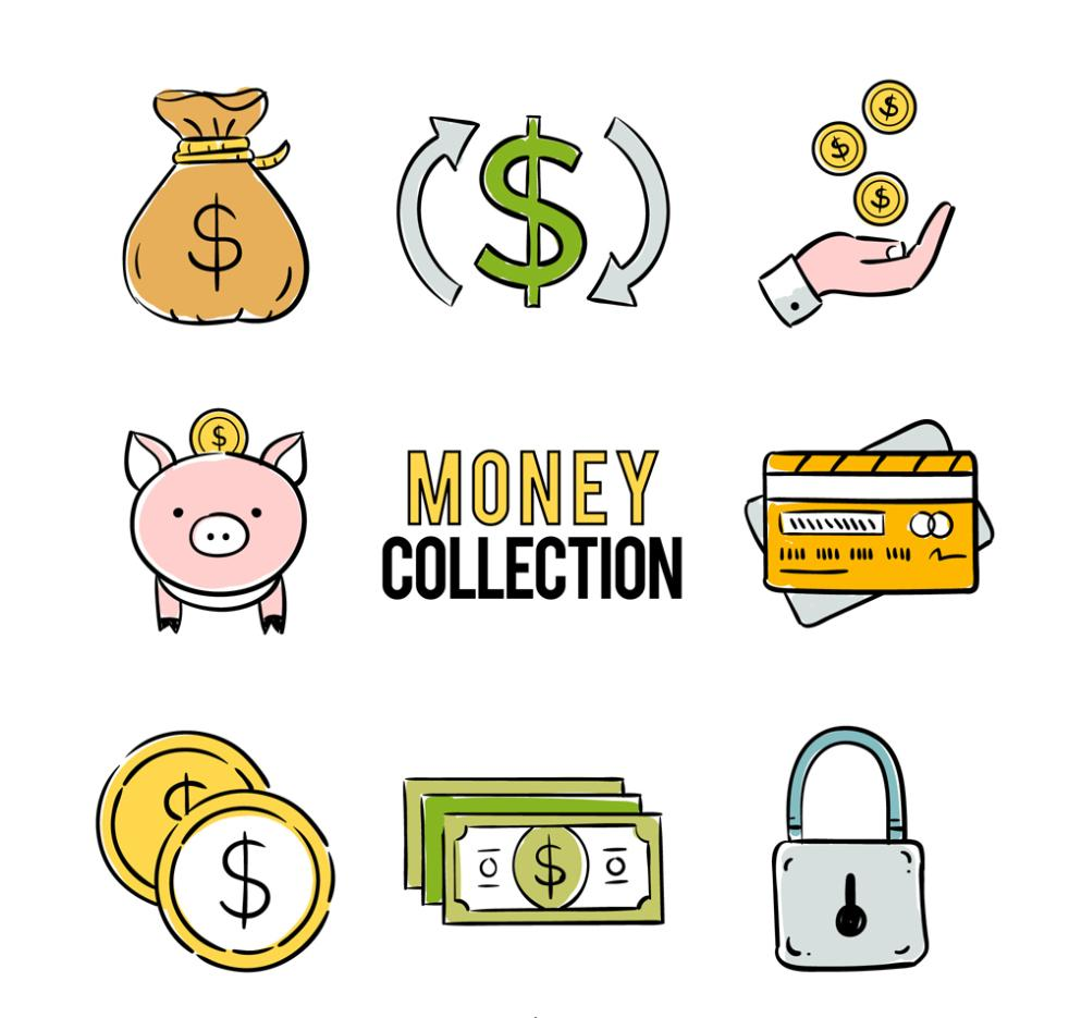 Eight Hand-painted Financial Icon Vector