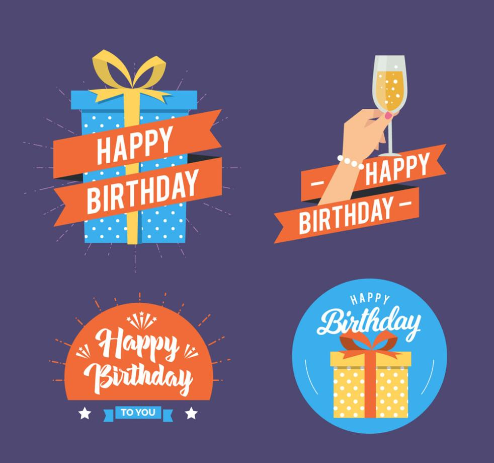 4 Creative Birthday Blessing Tag Vector